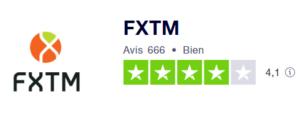 Avis des Clients sur FXTM_Note Trustpilot