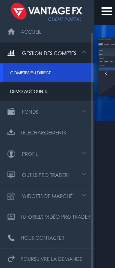 Vantage FX_Cliquer sur Comptes en Direct