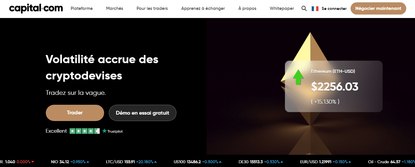 Page d'acceuil Capital.com