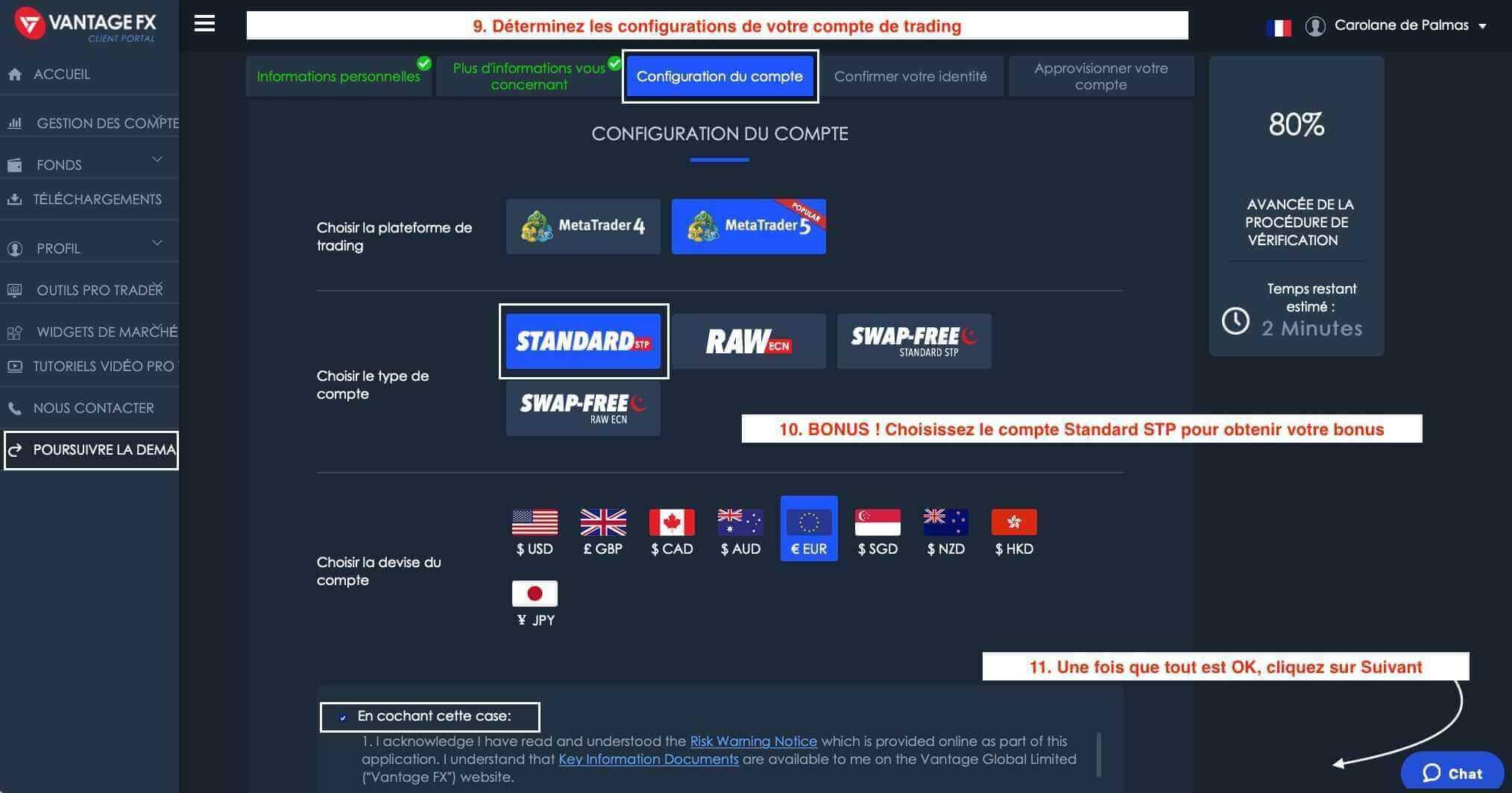 Configuration de Compte de Trading Vantage FX