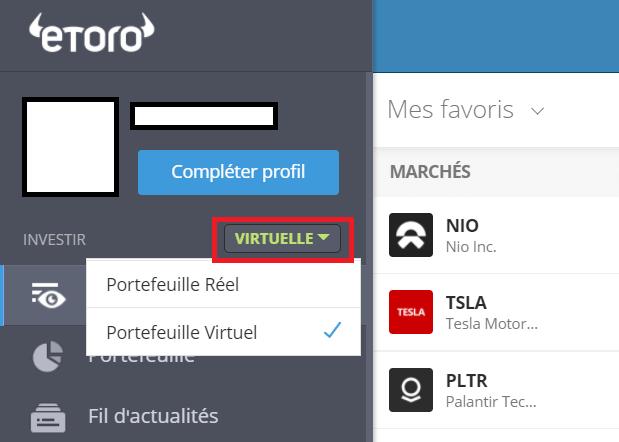 eToro_Cliquer sur Portefeuille Virtuel