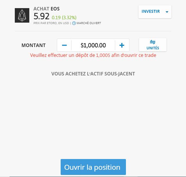 Où Acheter EOS crypto ouverture de position